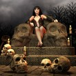 Gothic Lady on a throne — Stock Photo