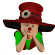 Lying boy with big hat — Stock Photo