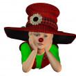 Lying boy with big hat — Stock Photo