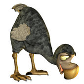 Dodo as a cartoon in food intake — Stock Photo
