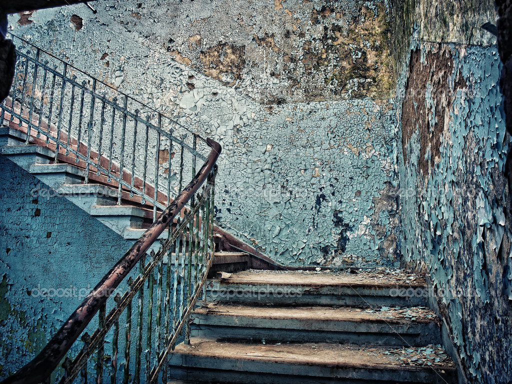 Beelitz sanatorium - old dilapidated staircase — Stock Photo #6393286