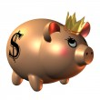 Piggy Bank with Crown — Stock Photo