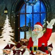 Santa claus with christmas elves — Stock Photo