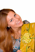Young woman with gift — Stock Photo