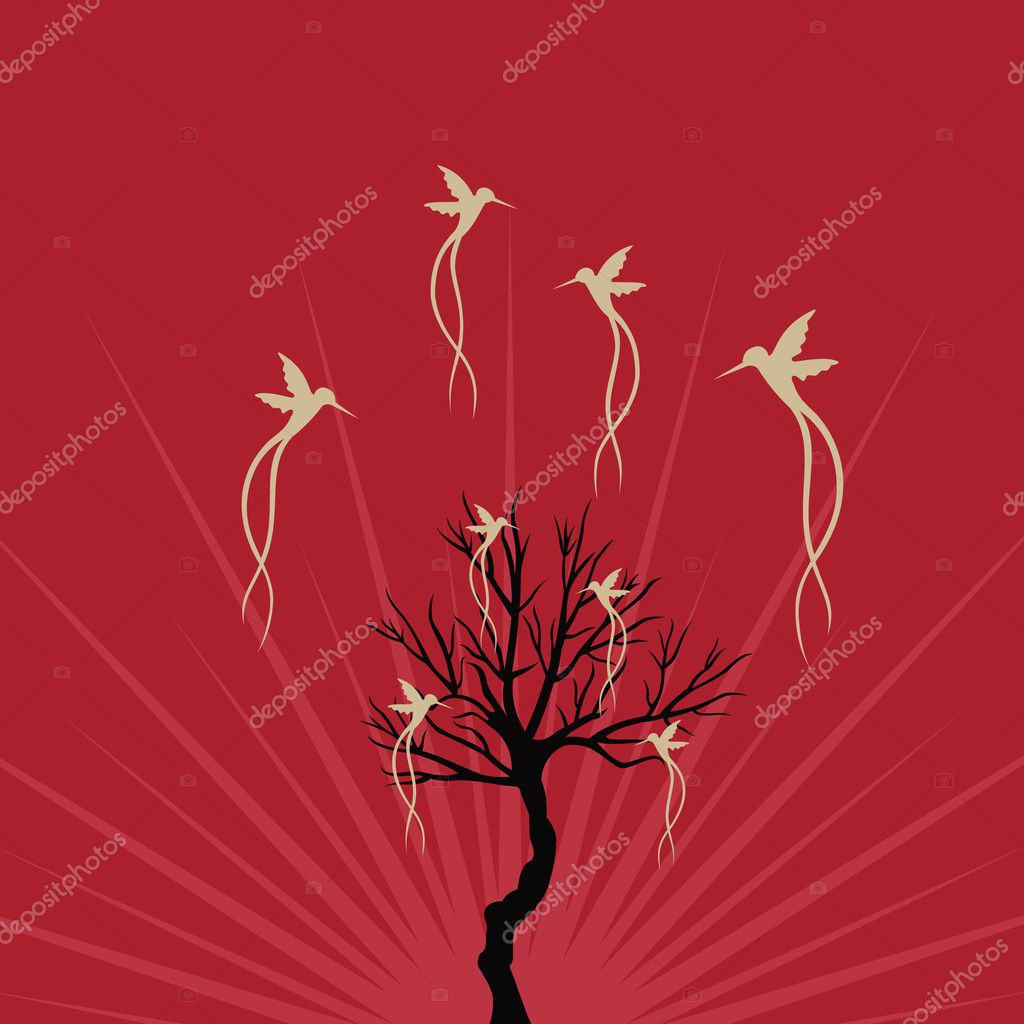 Abstract birds  fly  near tree — Stock Vector #6310545