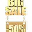 3D image of text of big sale, made of pure, beautiful gold — Stock Photo #5944077