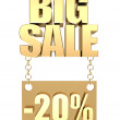 3D image of the text of a big sale, made of pure, beautiful gold — Photo