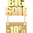 3D image of the text of a big sale, made of pure, beautiful gold - Foto de Stock