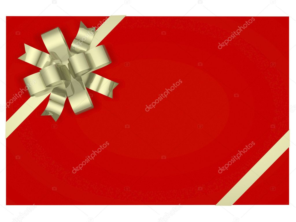 Beautiful gift box with a bow and ribbons cranes  Stock Photo #5978613
