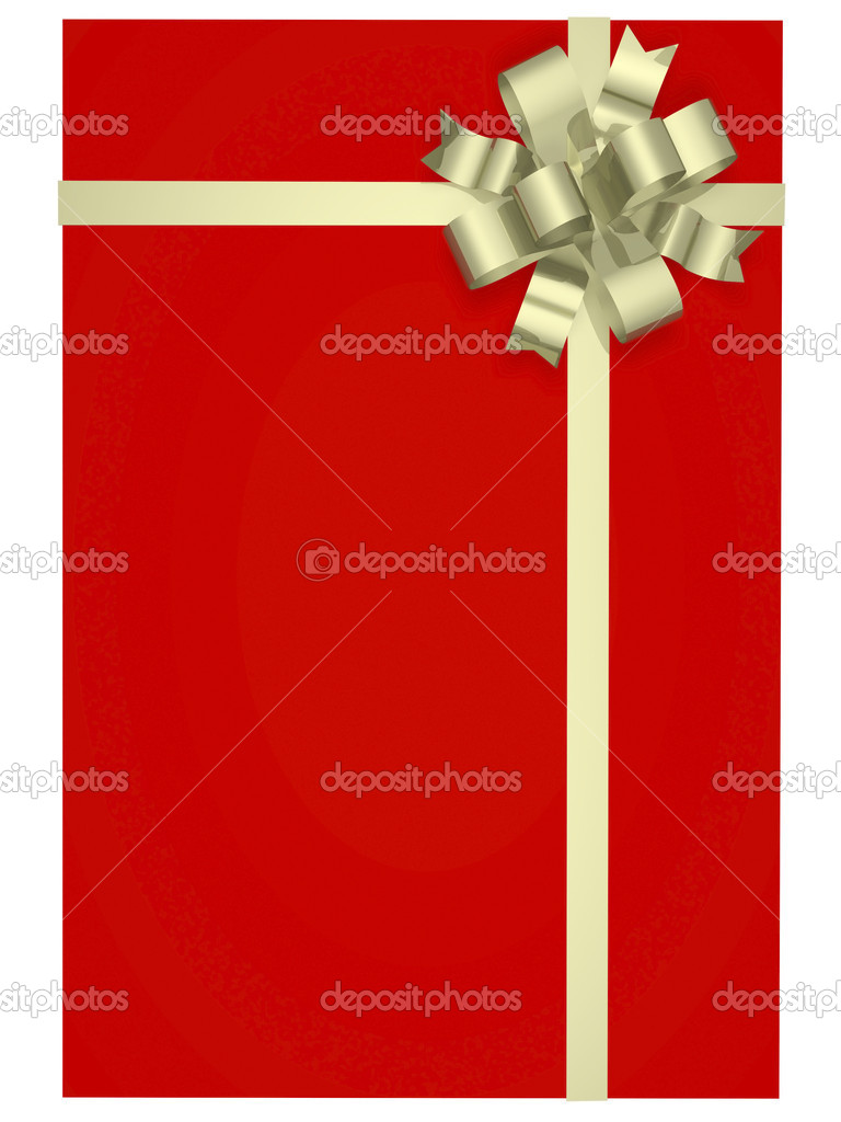 Beautiful gift box with a bow and ribbons cranes — Stock Photo #5978614