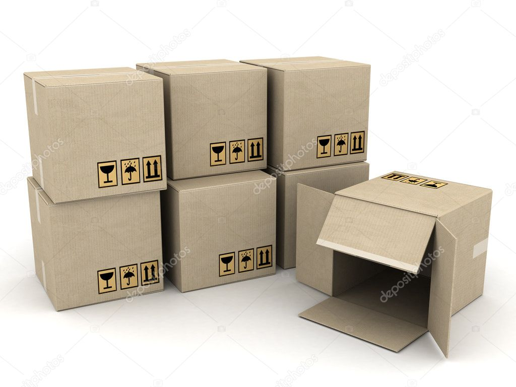 Boxes of cardboard image on white background — Stock Photo #6469525