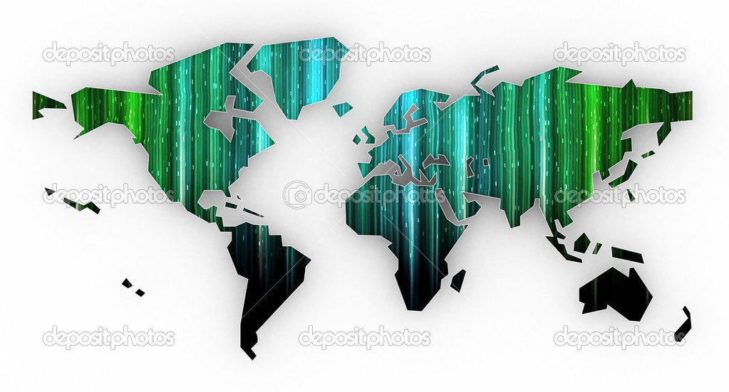 Picture a world map on a white background  Stock Photo #6675559