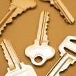 Closeup of five house keys on brown background — Foto Stock
