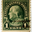 Old U.S. postage stamp, Ben Franklin - ストック写真