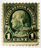 Old U.S. postage stamp, Ben Franklin — Stock Photo