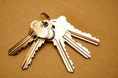 Five steel door keys still life — Stock Photo