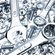 Closeup of spanners on nuts and bolts - Foto Stock