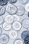Closeup of many American dime coins — Stock Photo
