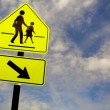 School warning road banner isolated on whith with clipping paths — Stock Photo