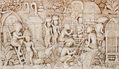 Thai low relief image illustrated former Thai in rural li — Stok fotoğraf