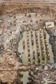 Foundation and root structure of new building — Stock Photo