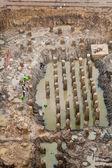 新しい建物の基盤と根の構造 — ストック写真