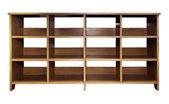 пустой древесины полке, изолированные на белом фоне с работы частей — Стоковое фото