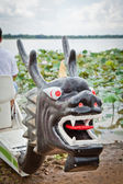 Dragon boat a kind of long boat twelve waterman for outdoor spor — Stock Photo