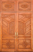 Crafted wood door at Buddish temple in Thailand — Stok fotoğraf