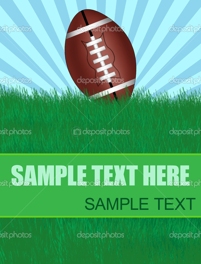 Background with american football ball on green grass with copy-space, vector illustration — Stock Vector #5415363