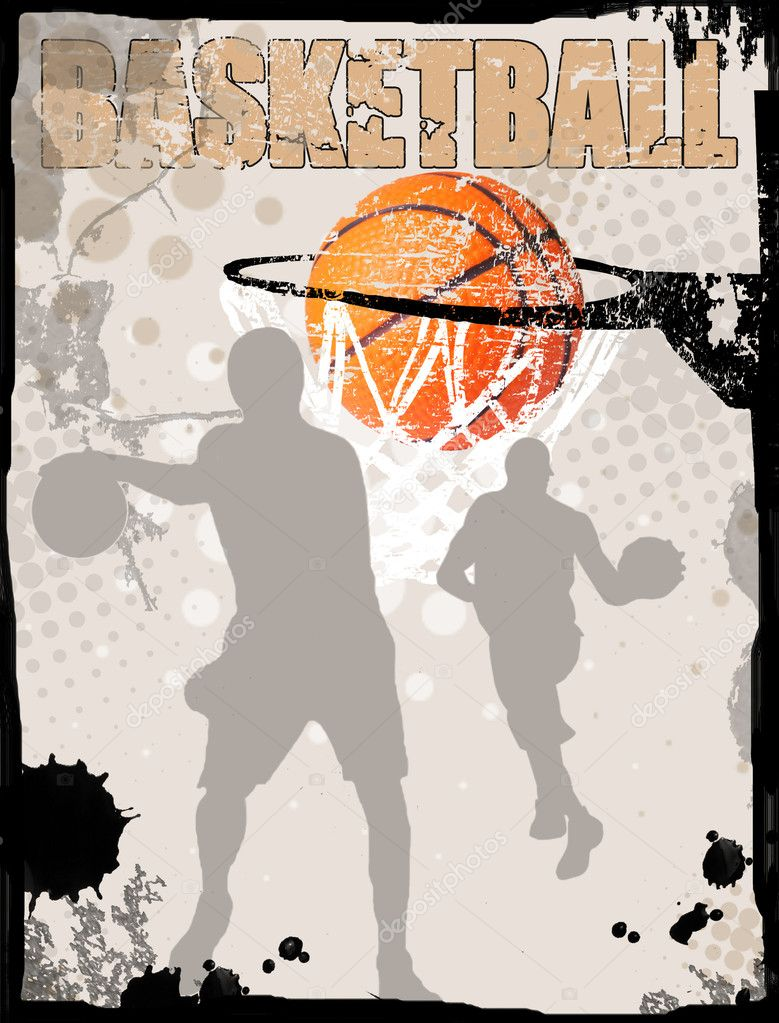 Basketball grungy poster background, vector illustration  Stock Vector #5483016