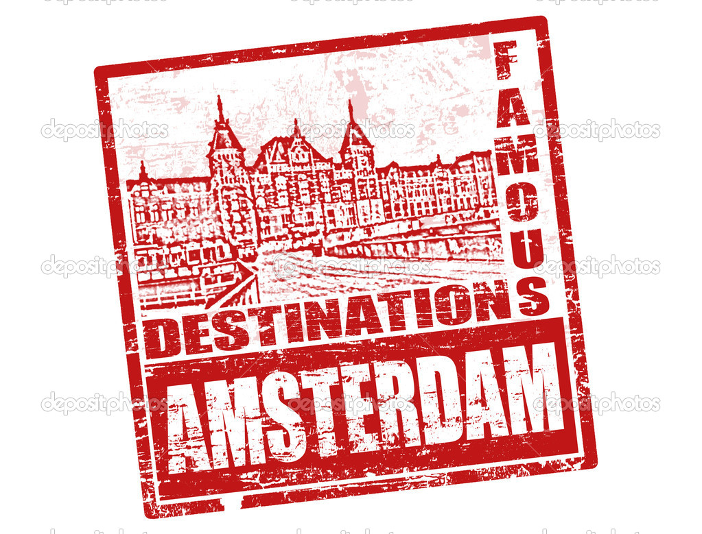 Red grunge rubber stamp with old houses and  the word Amsterdam, written inside — Stock Vector #5488966