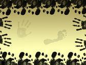 Handprints and footprints frame — Stock Vector