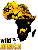 Wild Africa poster — Stock Vector