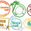 Tropical  summer stamps — Stock Vector