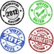 Stock Vector: Set of presidential election grunge stamps