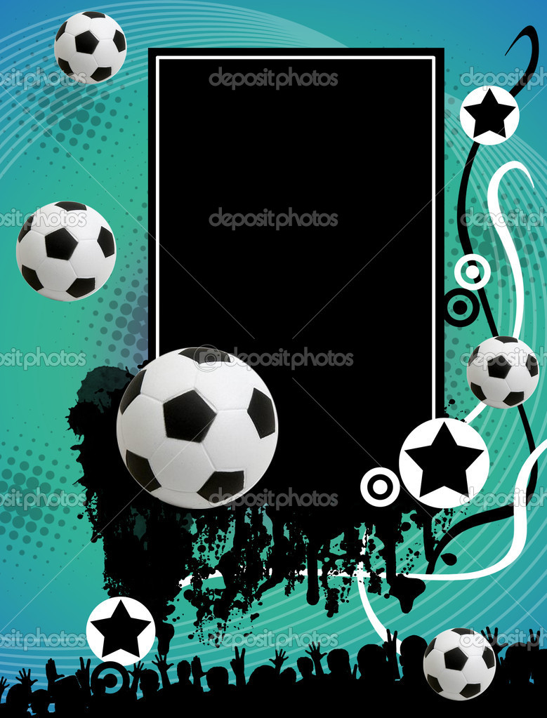 Grunge soccer poster with the balls and stars on abstract background,vector illustration — Stock Vector #5641784
