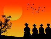 Cowboys silhouette — Stock Vector