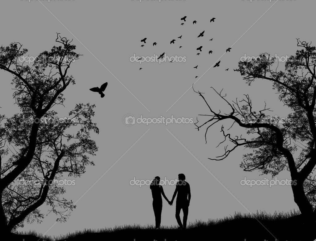 Lovers in a park on grey background, vector illustration  Stock Vector #5835143