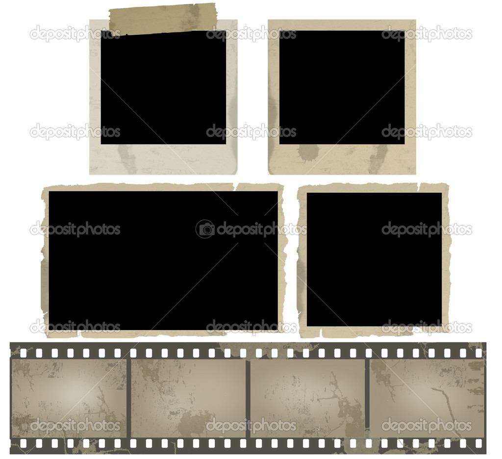 Old photo frames and film strip on white background, vector illustration — Imagen vectorial #5885529