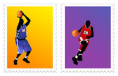 Basketball stamps — Stock Vector