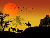 Oasis in sahara desert — Stock Vector