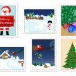Collection of Christmas stamps — Stock Vector