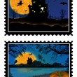 Halloween stamps — Stock Vector