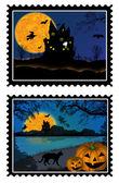 Halloween stamps — Stock Vector