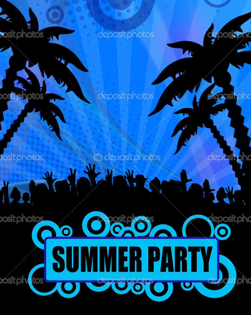 Summer party poster design on blue, vector illustration — Stock Vector #6133664