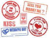 ślub znaczki — Wektor stockowy
