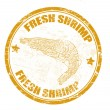 Stock Vector: Fresh shrimp stamp