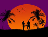 Couple at tropical sunset — Stock Vector
