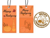 Happy thanksgiving labels and stamp — Stock Vector